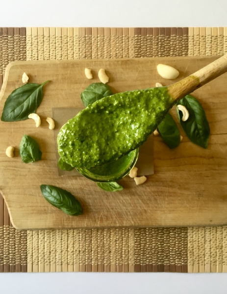 This cheesy vegan pesto is easy to make, requiring only 7 ingredients! It's the perfect addition to salads, soups, pasta, toast, pizza, and basically your entire life. PERFECT for summer when fresh herbs are readily available. // Recipe: plantpowercouple.com