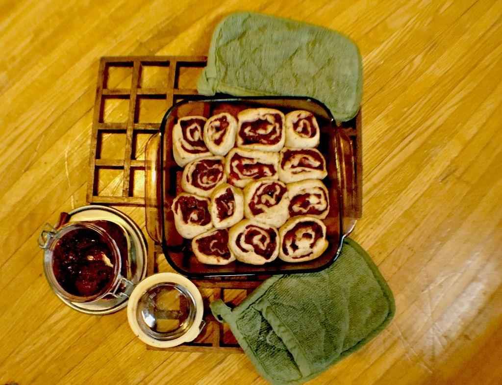 Healthy Vegan Cinnamon Buns with Cranberry Chia Jam