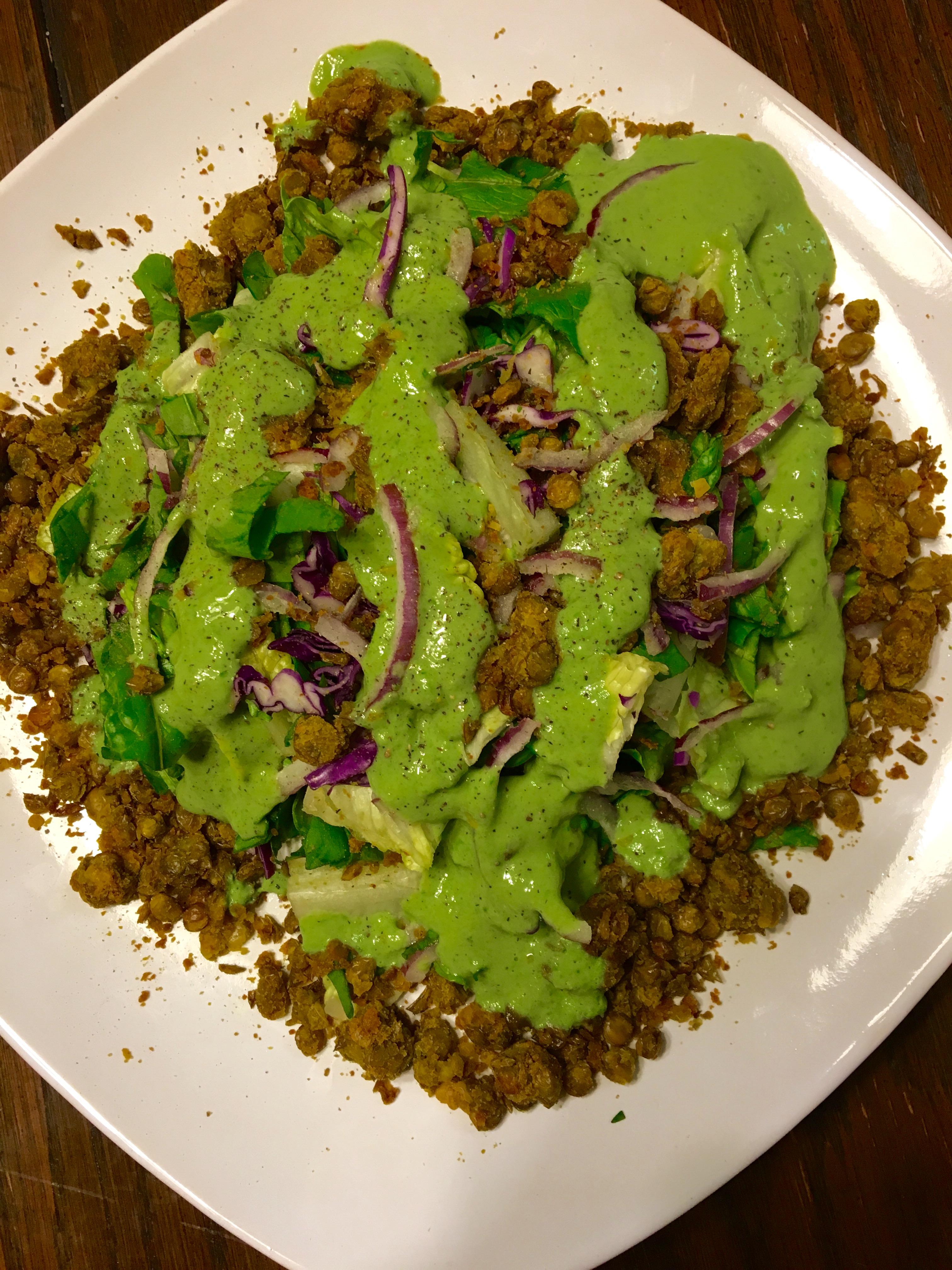 Lentil Cake Salad