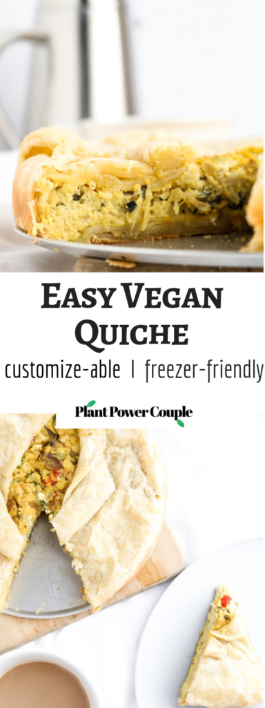 I'm about to rock your world with this delicious, decadent, and undeniably simple vegan quiche. It's made with a perfectly seasoned tofu base and encased in the most heavenly puff pastry crust. Welcome to savory brunch heaven! #vegan #quiche #veganrecipe #tofu #plantbased // plantpowercouple.com