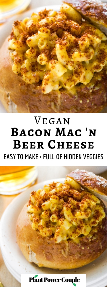 This vegan bacon mac and cheese is made with an easy cashew-free vegan beer cheese sauce and topped with crumbled vegan bacon. The cheesy flavor and ooey gooey texture will blow your mind! It's also easy to make gluten-free and includes an oil-free option. #vegan #veganmacandcheese #veganbacon #vegancheese #plantbased #vegandinner #veganlunchideas