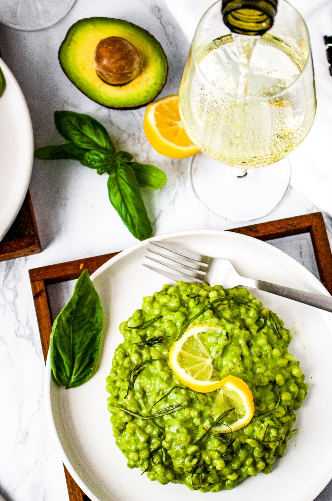 This Avocado Pesto Barley Risotto is an easy, quick, and vegan take on classic risotto that is perfect for summer! Tender cooked barley is drenched in a creamy dairy-free avocado sauce bursting with fresh herbs like basil and brightened up with a healthy squeeze of lemon juice. This is the perfect fresh and healthy plant-based lunch or dinner and is easily made oil-free! Serve this easy vegan risotto with our lemon pepper tofu cutlets for a full meal.