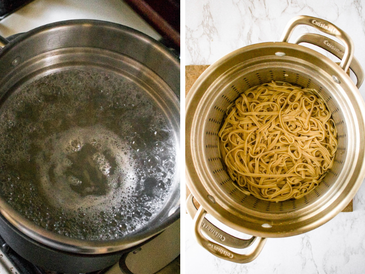 Two photos showing the process of cooking Pad Thai noodles for a chilled noodle salad.