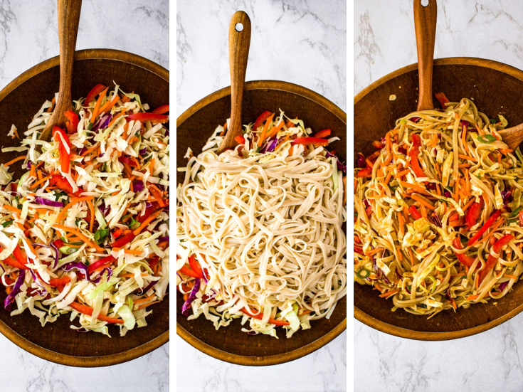 Three photos showing the process of making cold peanut lime noodle salad: First photo is a bunch of shredded carrots, cabbage, and peppers in a bamboo bowl. Second photo has noodles on top of the veggies, and the third is everything mixed together with peanut sauce.