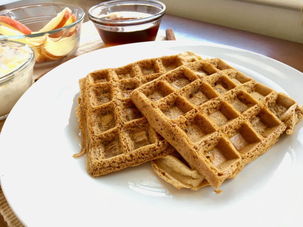 Easy Vegan Apple Cider Waffles with Ginger Snap Syrup II plantpowercouple.com