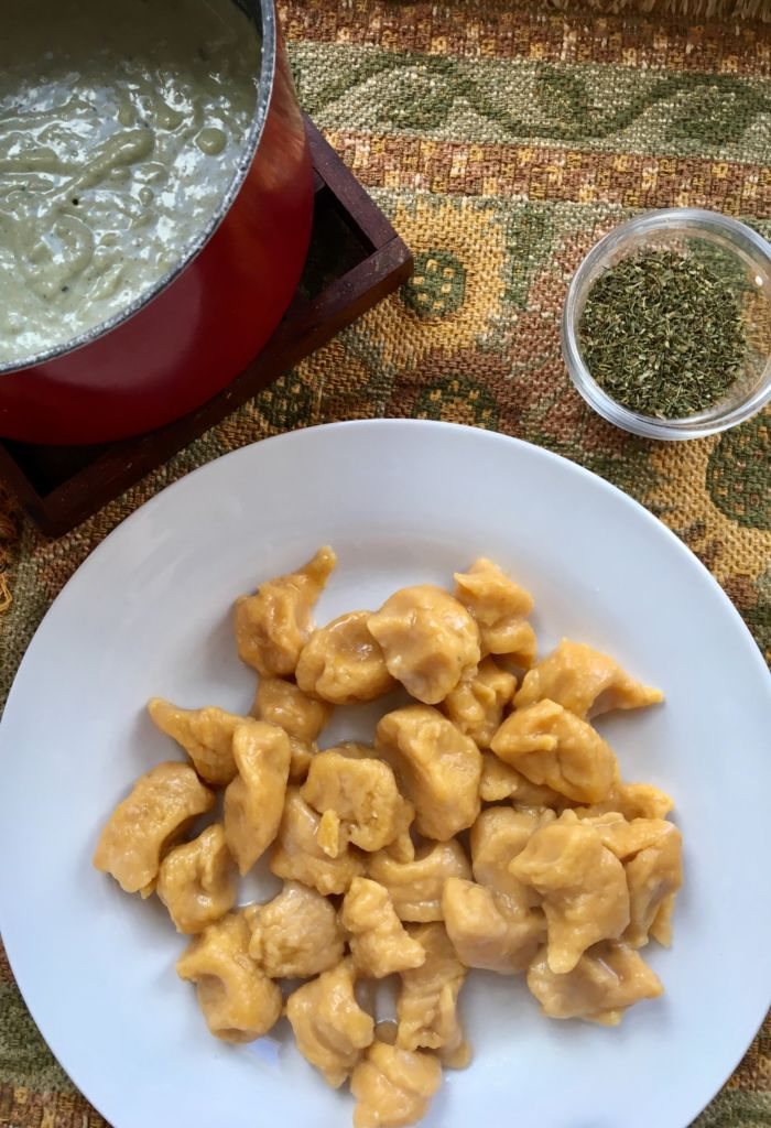 Sweet Potato Gnocchi w/Garlic Sage Cream Sauce - vegan, easy, delicious // plantpowercouple.com