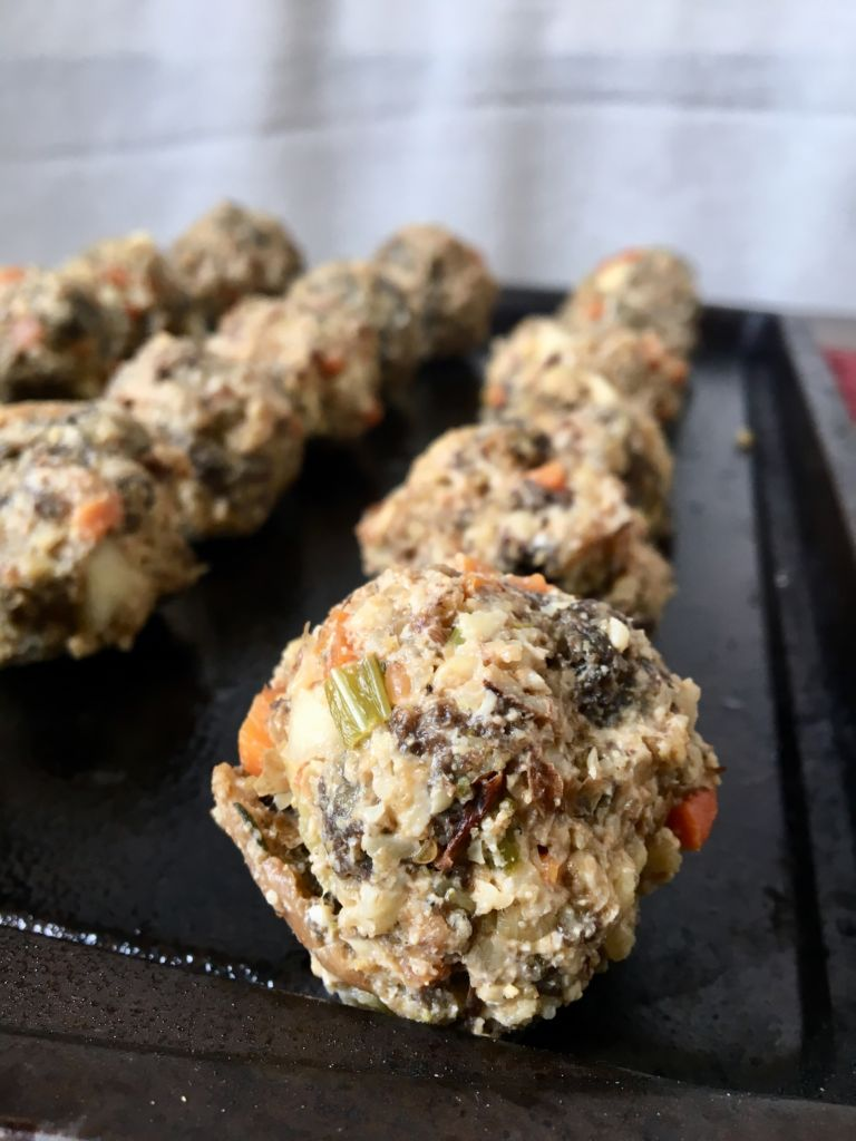 Walnut Sausage & Stuffing Balls - a great way to use up leftover stuffing and a perfect holiday appetizer! // plantpowercouple.com