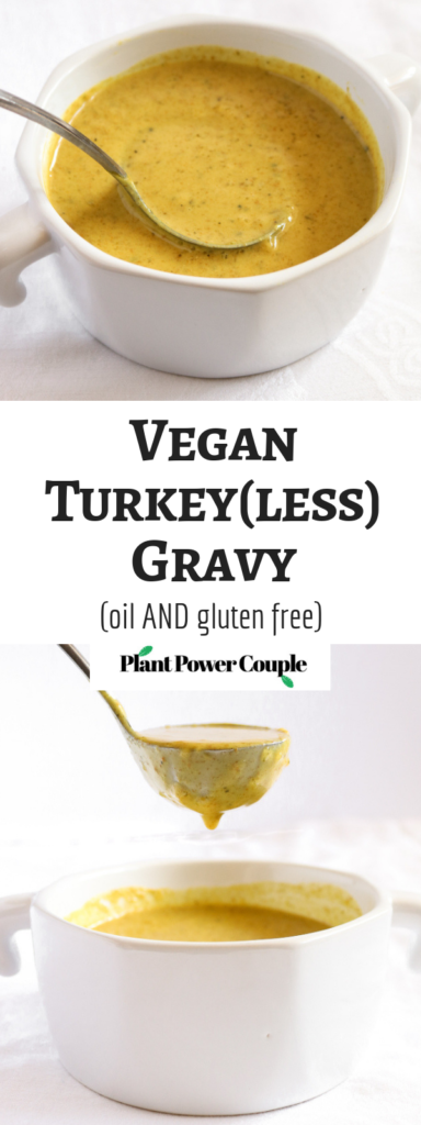 This vegan gravy is perfect for your Thanksgiving or Christmas table. It packs a ton of flavor and is SO easy to make but free of gluten + oil! #vegan #gravy #veganrecipe #vegetarian #thanksgiving // plantpowercouple.com