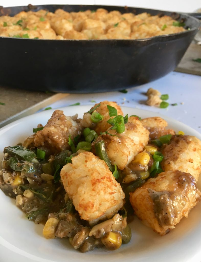 Spicy Vegan Tater Tot Hotdish - a comfort classic made vegan and oh so delicious! // plantpowercouple.com