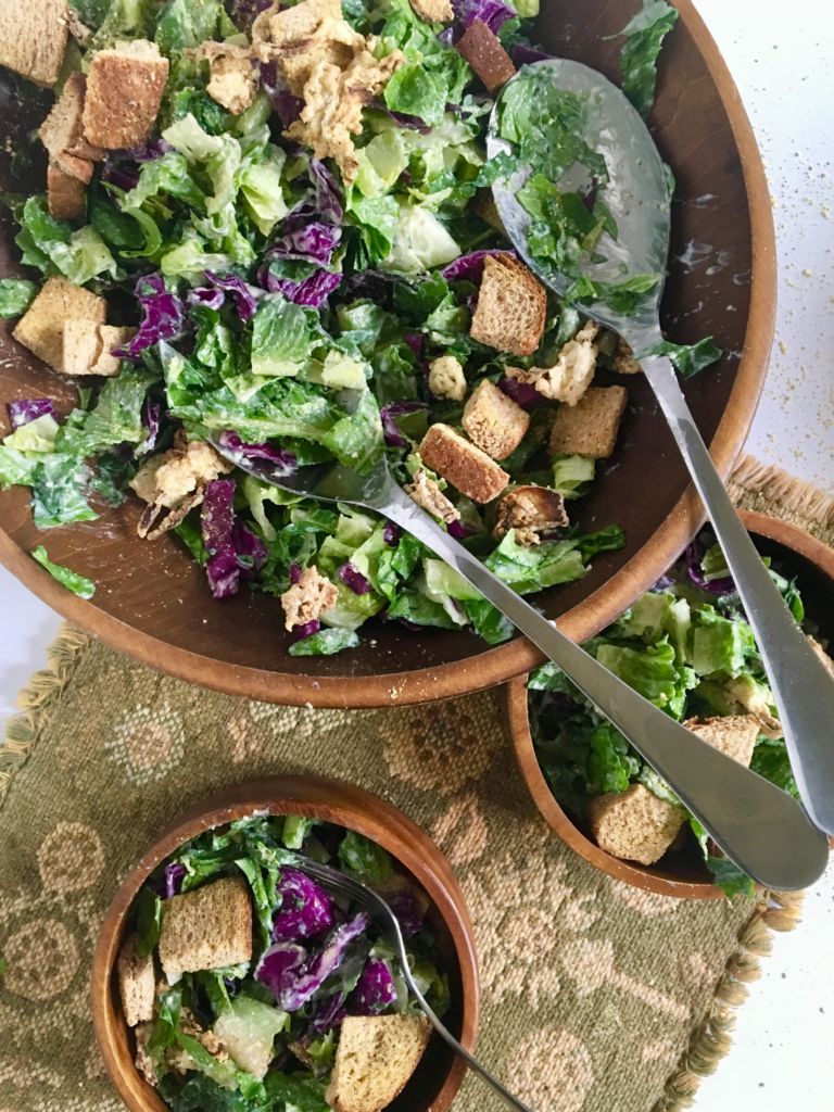 Easy Vegan Caesar Salad with Air-Fried Croutons - fresh, healthy, and delicious! // plantpowercouple.com