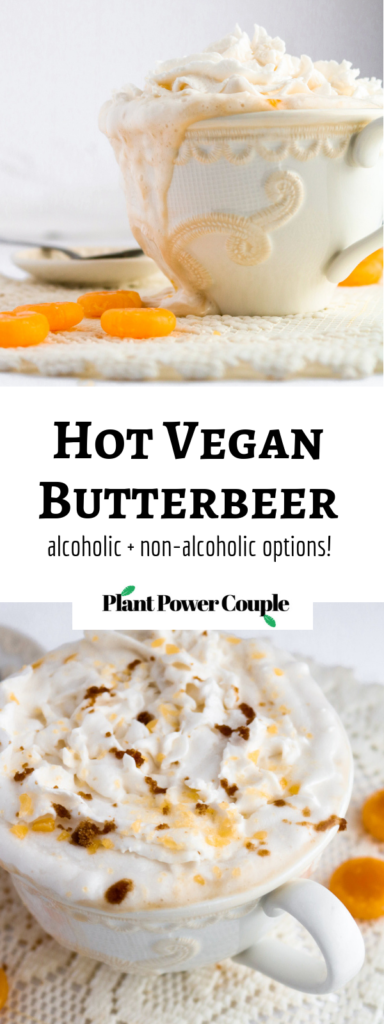 How to make vegan butterbeer just like in the Harry Potter series! Add a shot of whiskey and some whipped cream...or don't. You'll love this easy, delicious recipe! #vegan #veganrecipes #butterbeer #harrypotter #butterscotch #drink // plantpowercouple.com