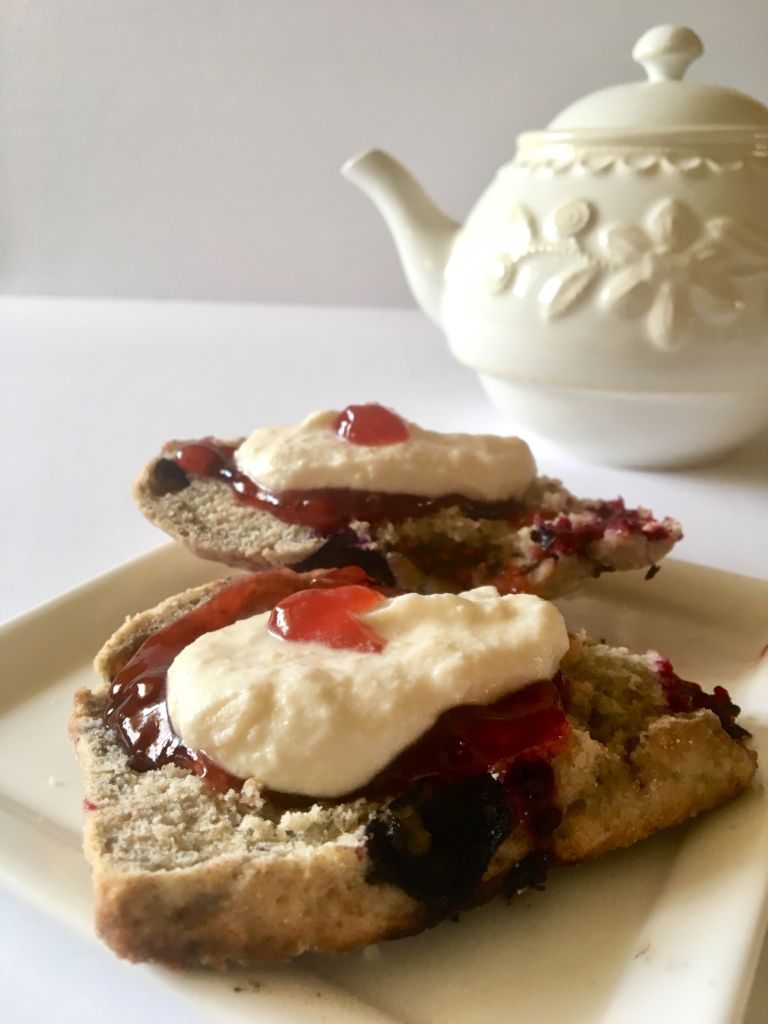 Blueberry Scones and Vegan Clotted Cream - pairs perfectly with some tea and a Downton Abbey marathon! // plantpowercouple.com