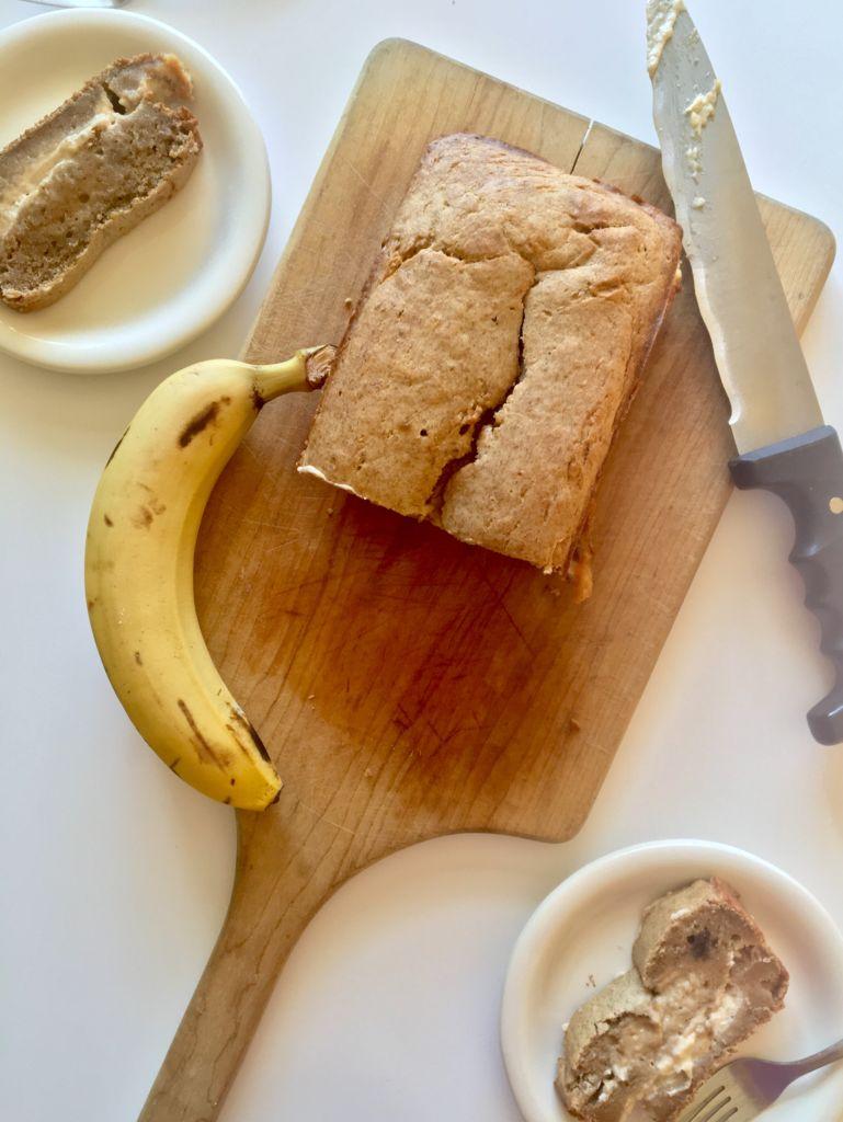 Vegan Cream Cheese Stuffed Banana Bread