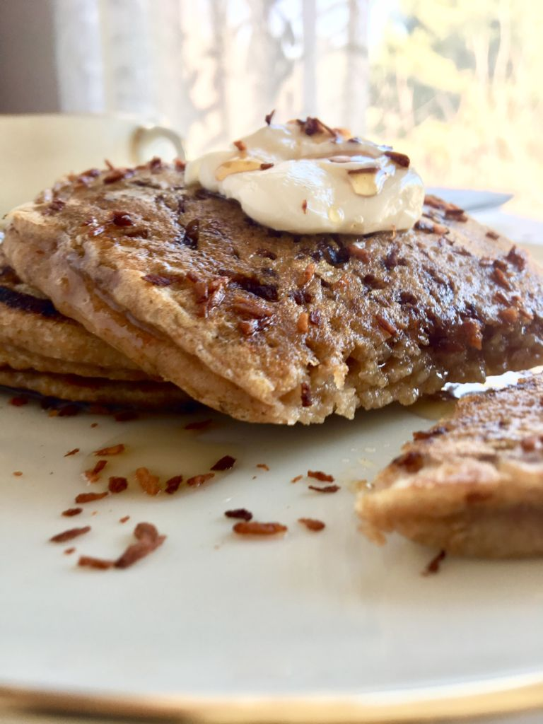 Coconut Bacon Pancakes - the sweet & savory breakfast treat that will totally change your world! // plantpowercouple.com
