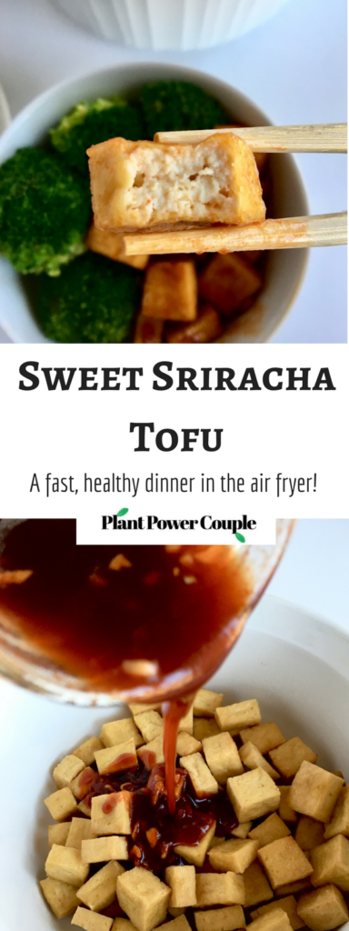 Sweet Sriracha Tofu made in the air fryer! It's a quick, easy, healthy weeknight dinner idea your family will LOVE! Air-fried is our new favorite way to eat tofu! // plantpowercouple.com