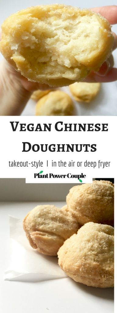 Vegan Chinese Takeout Style Doughnuts - the most glorious fried balls of dough rolled in sugar! Make them in either the air fryer or deep fryer; instructions for both included! // plantpowercouple.com