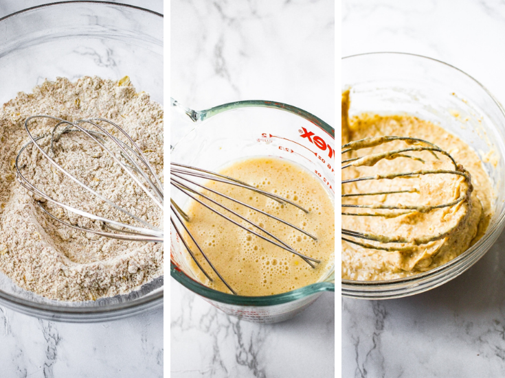 A grid showing the first three steps to making vegan pancake batter: whisk the dry ingredients, whisk the wet ingredients, stir both mixtures together until just combined.