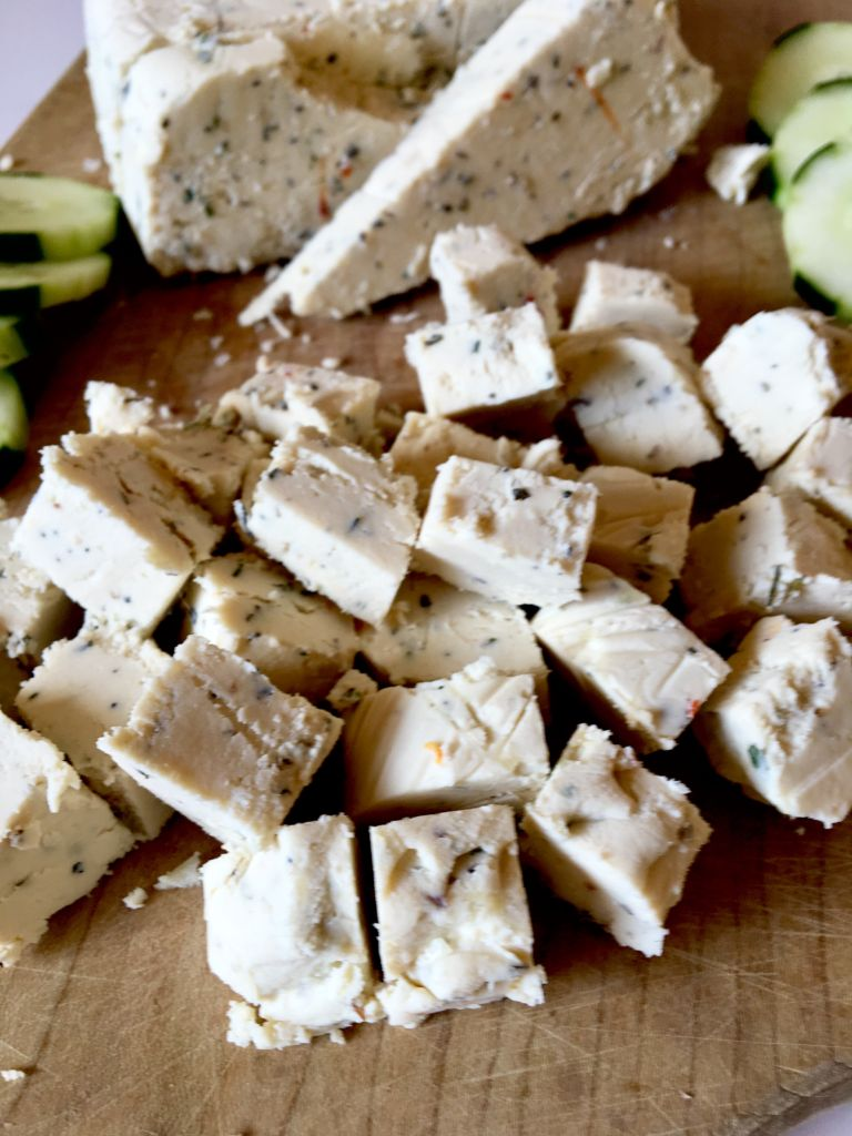 The BEST Vegan Feta Cheese - made with a tofu / refined coconut oil base, this feta cheese is firm and slice-able, yet still crumbles beautifully just like a good feta should! You will be AMAZED how awesome this tastes; even our non-vegan friends and fam agree! // plantpowercouple.com