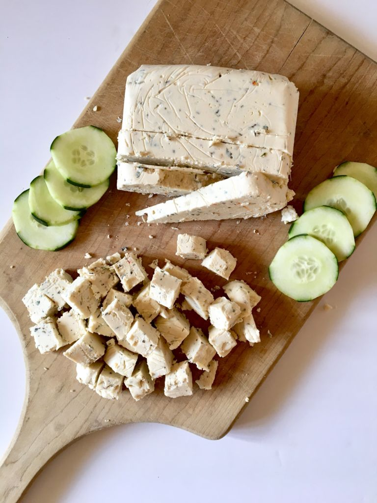 The BEST Vegan Feta - made with a tofu / refined coconut oil base, this feta cheese is firm and slice-able, yet still crumbles beautifully just like a good feta should! You will be AMAZED how awesome this tastes; even our non-vegan friends and fam agree! // plantpowercouple.com
