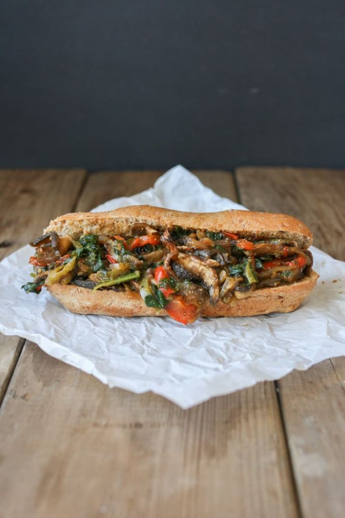 Philly Portabello Steak Sandwich by Veggies Don't Bite // 10 Classic Ballpark Recipes Made Vegan