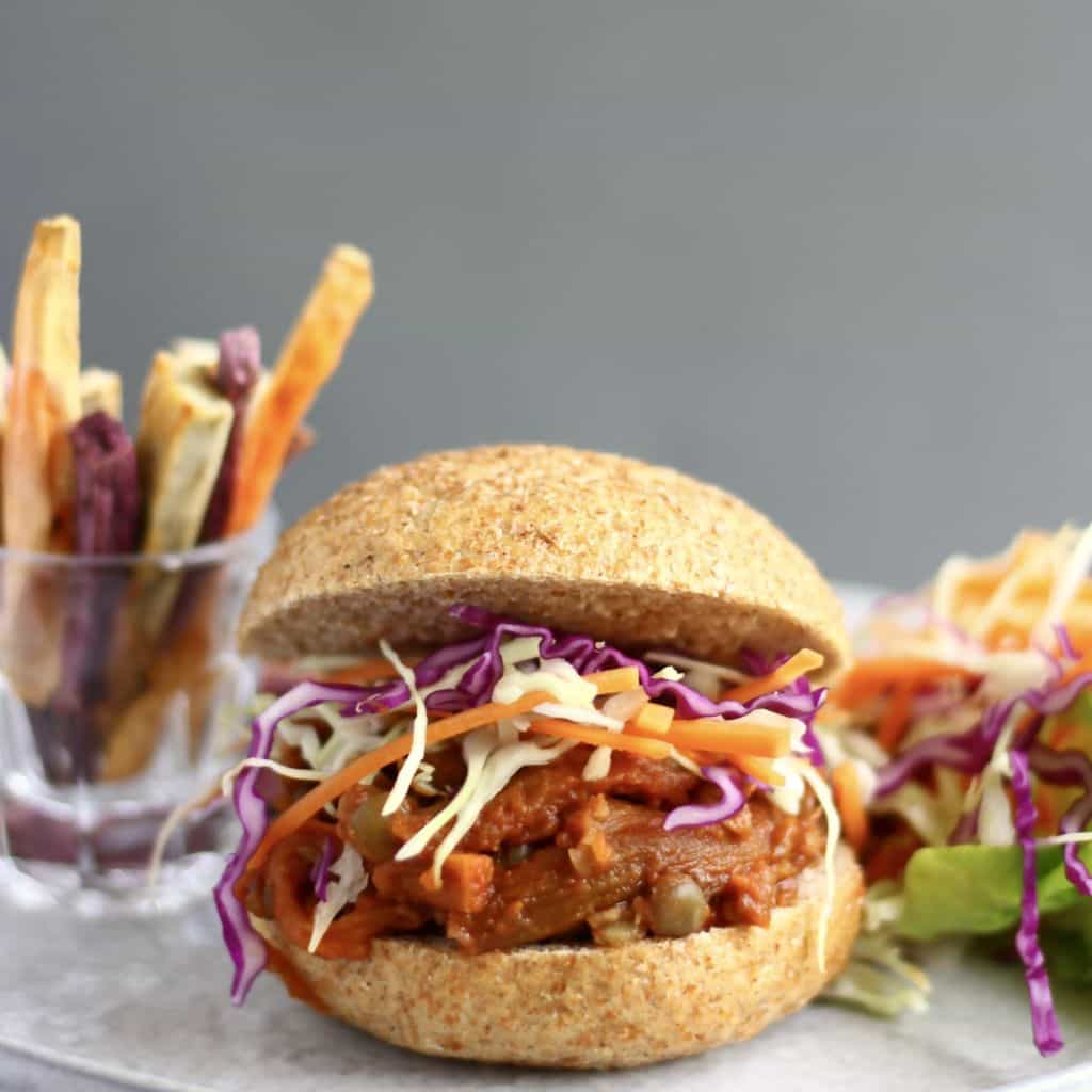 Pulled Eggplant Sandwich by Rhian's Recipes // 10 Classic Ballpark Foods Made Vegan