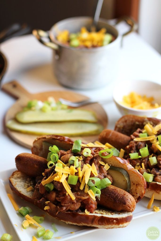 Vegan Chili Dog by Cadry's Kitchen // 10 Classic Ballpark Foods Made Vegan