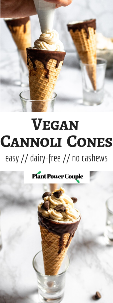 These Vegan Cannoli Cones, infused with decadent white chocolate flavor, are a fun and delicious dairy-free dessert. They're easy to make, requiring only 8 ingredients! #vegandessert #dairyfree #dessert #cannoli #cocoabutter #tofu #tofurecipe #veganchocolate // plantpowercouple.com