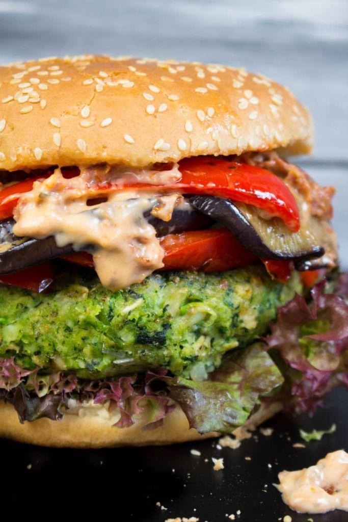 10 (Vegan) Ways to Get Your Greens That Aren't Salad or Gross: Green Monster Veggie Burger by Vegan Heaven