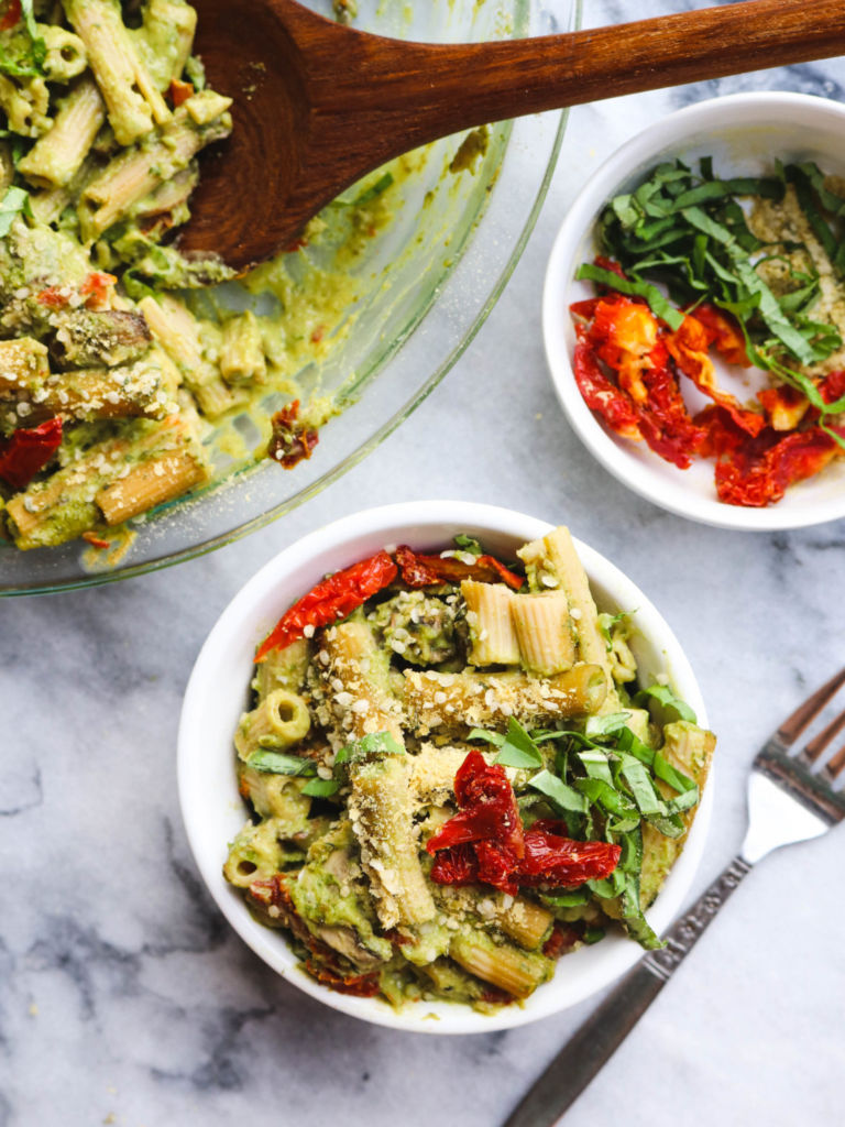 10 (Vegan) Ways to Get Your Greens That Aren't Salad or Gross: Pesto Pasta Bake by From My Bowl