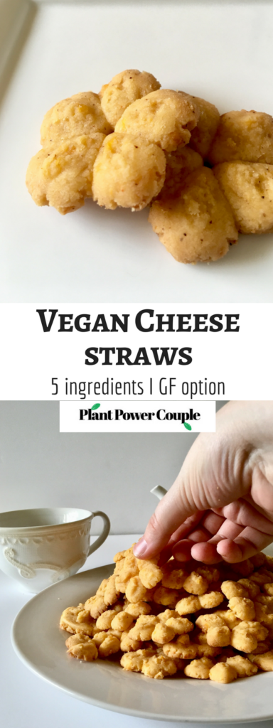 Spicy Vegan Cheese Straws made with only 5 ingredients and simple methods but guaranteed to impress any crowd! These are great for parties, showers, or just for a great vegan snack! Gluten-free option too! // plantpowercouple.com