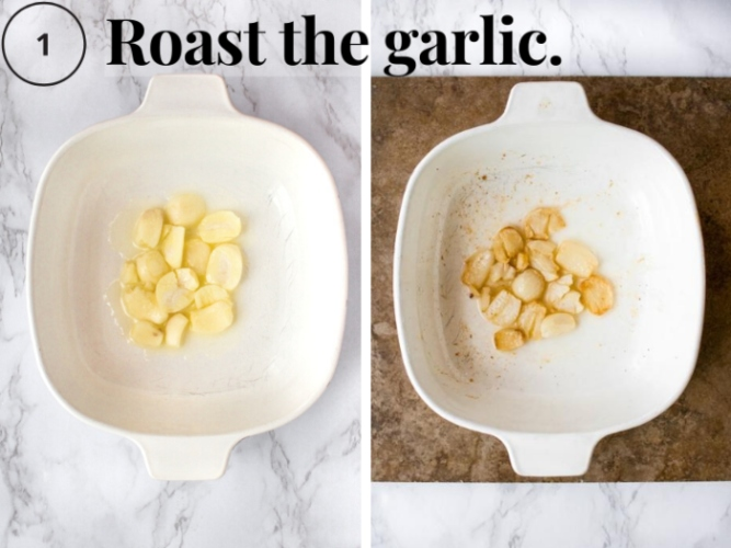 This creamy vegan garlic sauce recipe for pasta or pizza is completely dairy-free and packed with protein! It's also nut-free (NO cashews!), gluten-free, and includes an oil-free option. It's easy to make and takes 20 minutes: Just roast your garlic, blend the ingredients, and pour over pasta, pizza, or garlic bread! #vegangarlicsauce #veganpastarecipes #veganpizzarecipes #silkentofu #tofurecipes