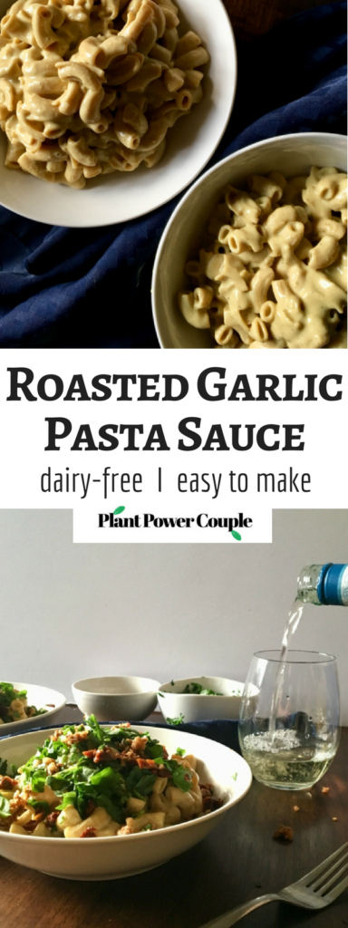Creamy roasted garlic pasta sauce that is completely dairy-free and VEGAN! No cashew-soaking required, just roast your garlic, blend the ingredients, and pour over pasta! // Recipe from plantpowercouple.com