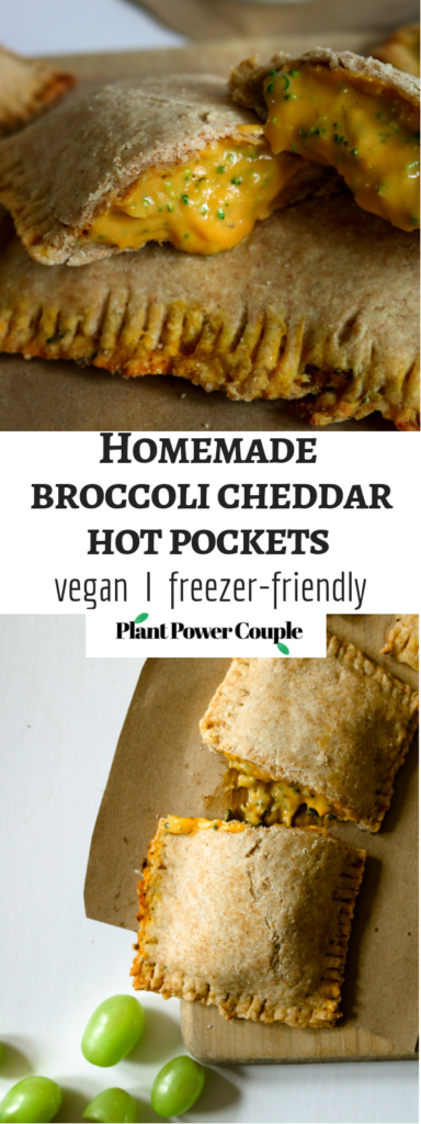 Homemade VEGAN hot pockets with an ooey gooey cheddar-y broccoli filling. Perfect for after school snacks and make-ahead lunches, freezer and kid friendly! // plantpowercouple.com