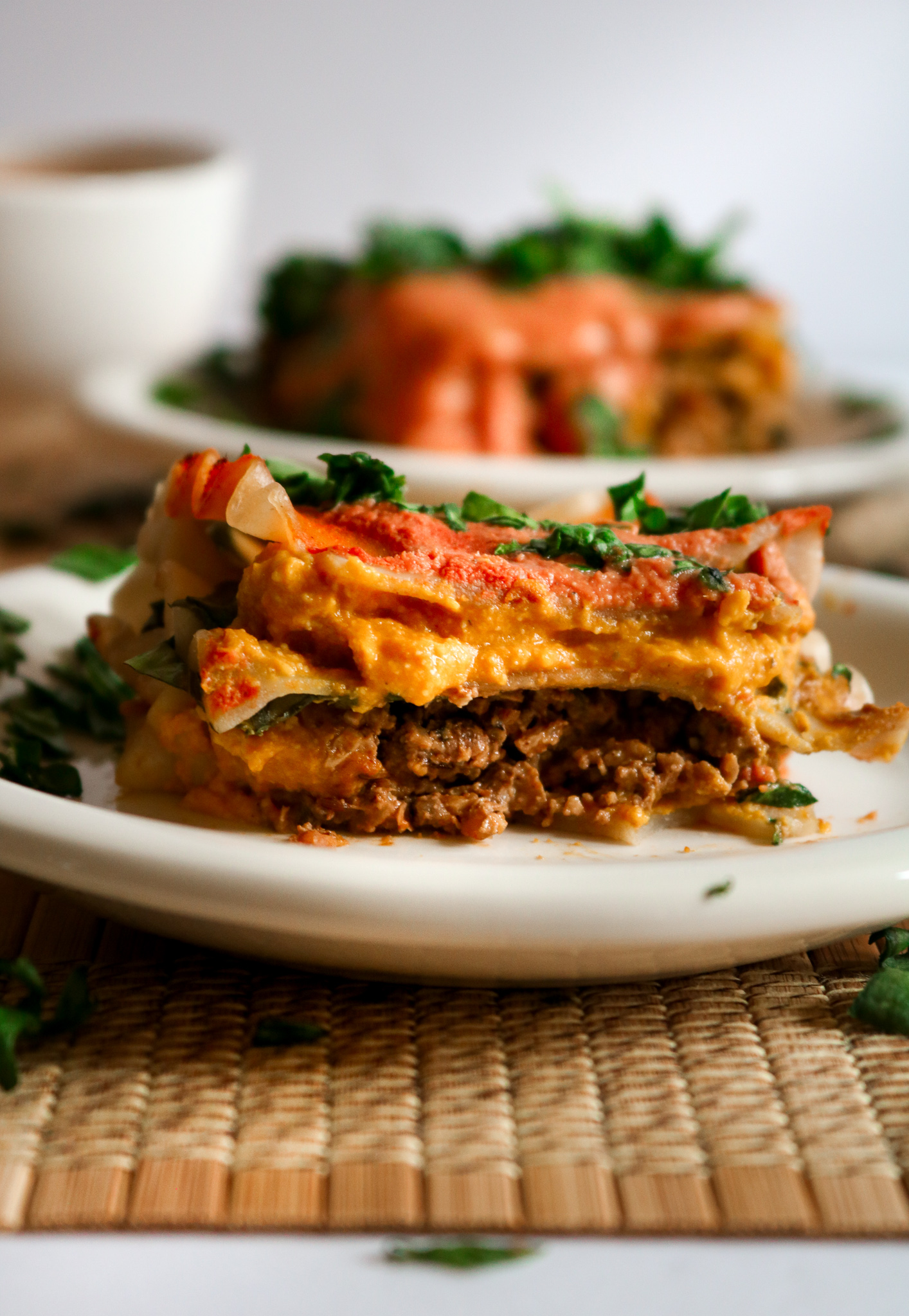 This Vegan Tikka Masala Lasagna is pure comfort food! All the things you love about traditional lasagna but with an Indian-inspired flavor that will knock you off your feet! Easy to make and freezer friendly too! // plantpowercouple.com