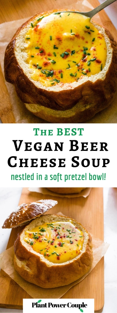 This cozy vegan beer cheese soup is nut-free and tastes like actual beer cheese soup, not just a healthy version of it! Surprisingly though, this cozy soup is dairy-free, easy to make gluten-free, and includes an oil-free option along with some sneaky hidden veggies. Make it for your Oktoberfest feast at home with ALL the German beers! #vegansoup #vegancheese #veganbeercheese #plantbased #veganrecipe #easyveganrecipe