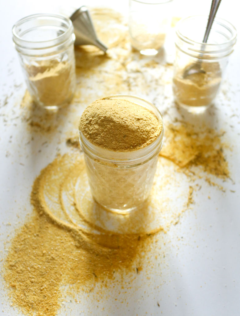 This easy, 7-ingredient vegan bouillon powder will totally level-up your cooking game! It's gluten-free and can be used to make a chicken(less) broth that is just as flavorful as the one we all grew up loving! // plantpowercouple.com