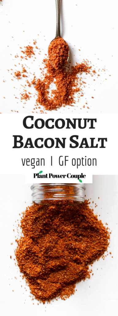 This vegan coconut bacon salt is like bacon-flavored salt. It's great on everything from tofu scramble to salads to pancakes! You'll basically want to sprinkle this coconut bacon salt all over your entire life. #veganrecipe #coconut #vegan // plantpowercouple.com