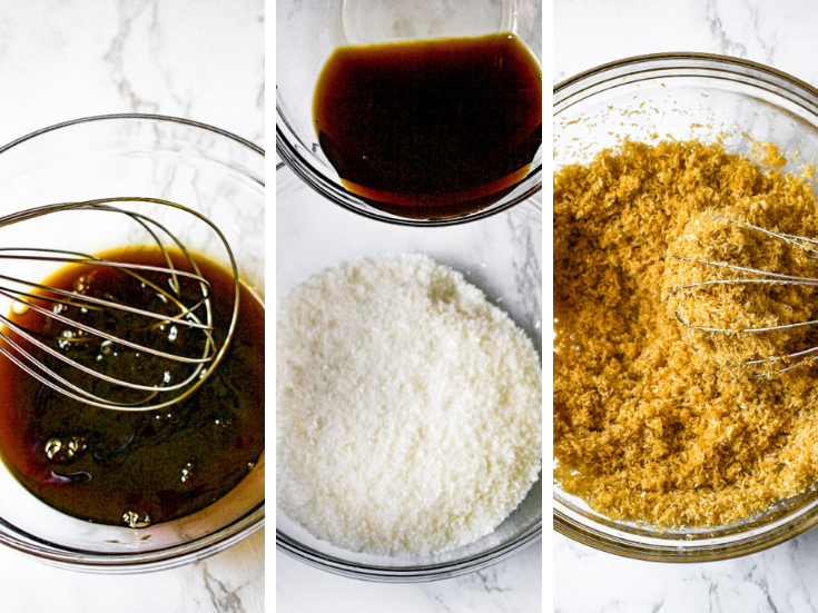 The first three steps to make vegan coconut bacon salt: Mix the marinade with a whisk, pour it over shredded coconut, mix with the whisk until totally combined.
