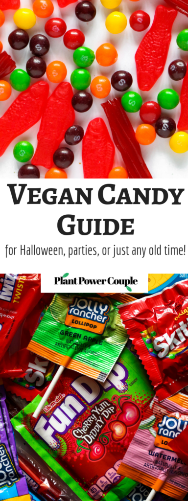 Vegan Candy Guide for Halloween, parties, or just any old time! This comprehensive guide includes helpful info on what store-bought candies are free of animal ingredients and suitable for vegans! // plantpowercouple.com