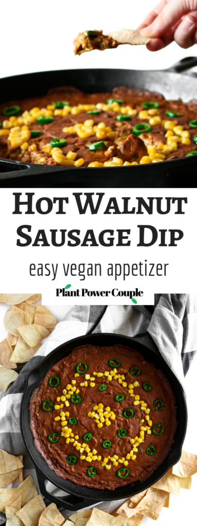 This hot walnut sausage dip may not be the prettiest appetizer on the table, but you'll forget all that the minute you take a bite. So much flavor, a rich, stick-to-your-ribs texture, and easy to make #vegan #appetizer! // plantpowercouple.com