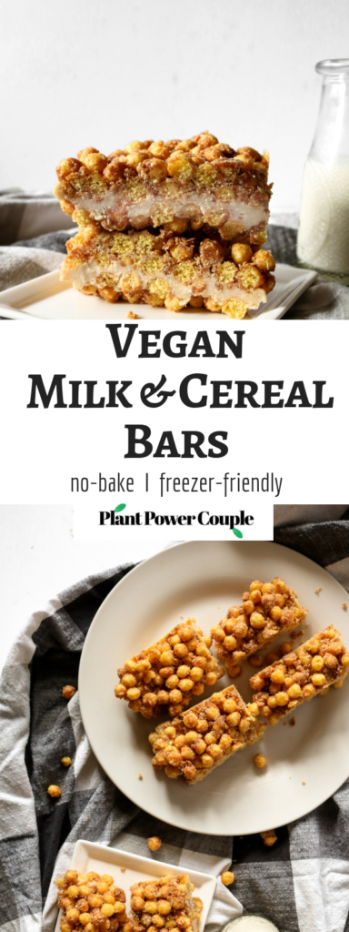 These vegan milk & cereal bars are a copycat version of the bars I grew up loving...made dairy-free and healthy-er! No-bake, freezer-friendly #vegan #snack or #breakfast! // plantpowercouple.com