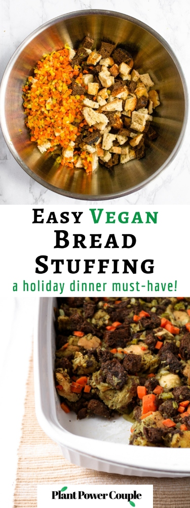 This vegetarian Thanksgiving stuffing is an amazing plant-based side dish for your holiday table. It's easy to make with simple ingredients. The texture of this vegan stuffing is warm and bready on the inside and slightly crispy on top. The flavors will take you back to childhood!