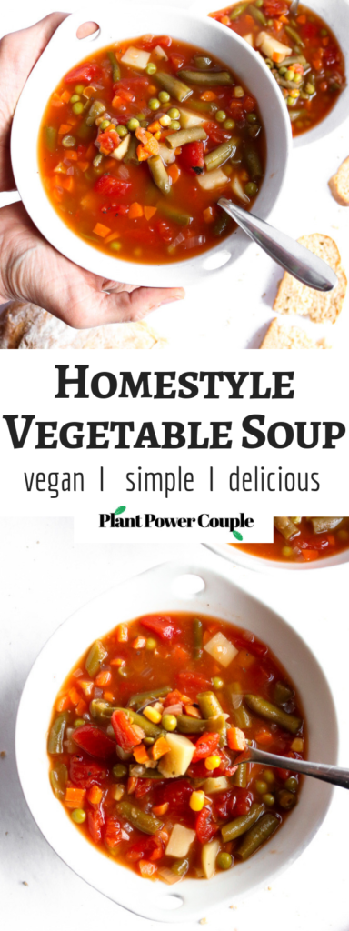 Make this Homestyle Vegetable Soup to brighten any sick or rainy day! It's so crazy simple yet full of flavor and comfort, just like the Campbell's soup we all grew up loving but made at home! Vegan + Gluten-free too. #vegan #glutenfree #soup #vegetablesoup #veganrecipes #plantbased // plantpowercouple.com