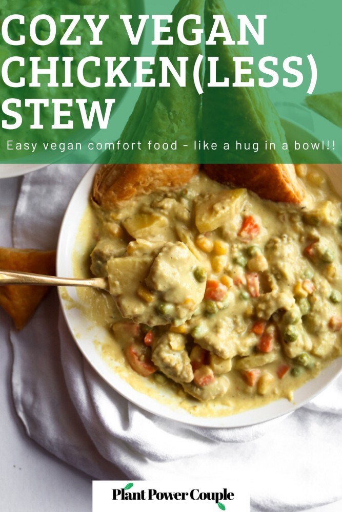 This vegan chicken(less) stew is the PERFECT winter comfort food! It's warm and soul-healing but also FULL of surprise veggies and flavor. It's also freezer-friendly and has a gluten-free option. #vegan #stew #veganrecipes #cauliflower #comfortfood
