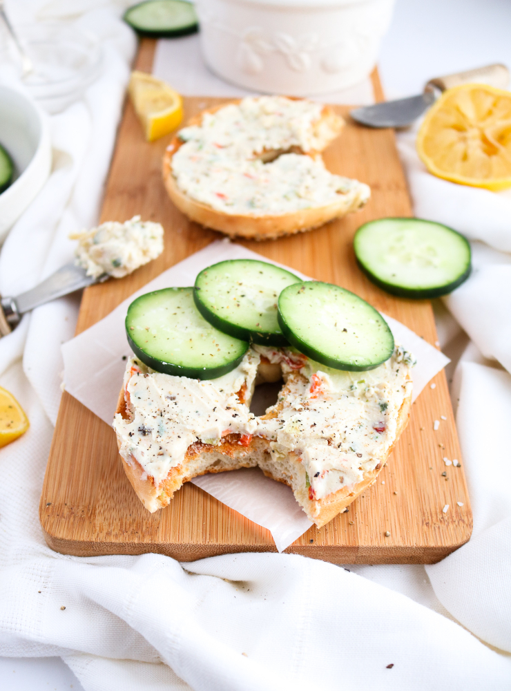 This easy vegan cream cheese recipe has had me up and dancing for joy around the kitchen every morning this week! It's bursting with flavor, has a soft creamy texture you have to taste to believe, and requires very minimal effort on your part. #vegan #tofu #coconutoil #dairyfree // plantpowercouple.com