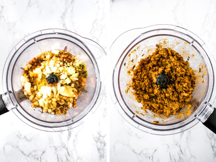 Process shots of how to make walnut meat. The photo on the left shows the walnuts, onions, garlic, and remainder of ingredients in a food processor before blending. The photo on the right shows the walnut meat after you pulse all the ingredients together.