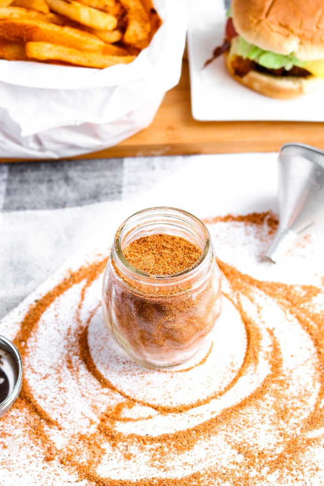 This Copycat Red Robin Seasoning is a heavenly seasoned salt that's incredible on everything from fried or roasted potatoes to veggie burgers + tacos. #vegan #seasoning #salt #paprika #recipe