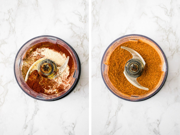Copycat Red Robin Seasoning: paprika, sea salt, celery salt, nutritional yeast, chili powder, black pepper, dried basil, onion powder, ground cumin before and after pulsing in the food processor.