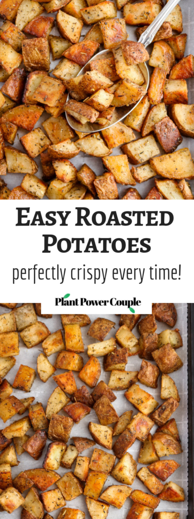 Every good cook needs a solid roasted potato recipe in their arsenal, and this is ours! It's made with only six simple ingredients and comes out perfectly crispy + flavorful every. single. time. #vegan #potatoes #veganrecipes #glutenfree #plantbased // plantpowercouple.comq