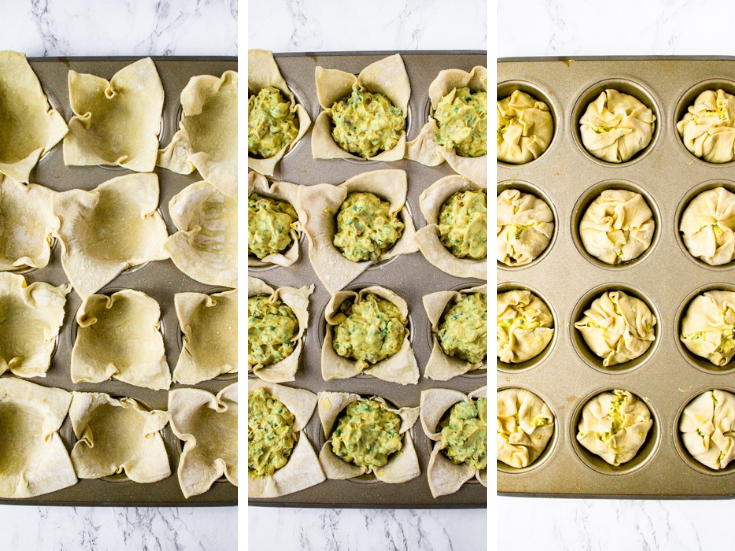 The process of making mini vegan quiche cups: Line a muffin tin with puff pastry squares, fill with tofu quiche filling, close and bake!